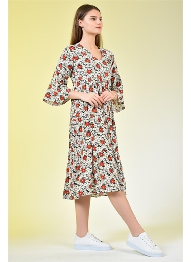 Rodi Jeans Kadın V Yaka Çiçekli Eteği Fırfır Elbise DS21YB111959 Kırmızı